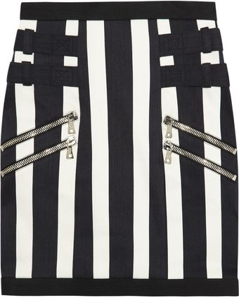 Balmain Striped Stretch denim Mini Skirt - Lyst