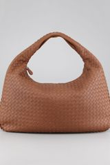 Bottega Veneta Woven Large Leather Hobo Hazelnut Brown - Lyst