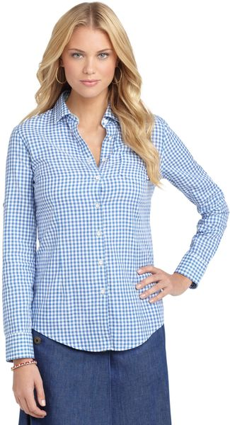 Brooks Brothers Double-Faced Gingham Blouse - Lyst