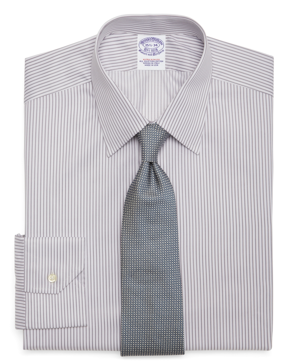 Brooks brothers egyptian cotton extraslim fit twill pencil for Mens egyptian cotton dress shirts