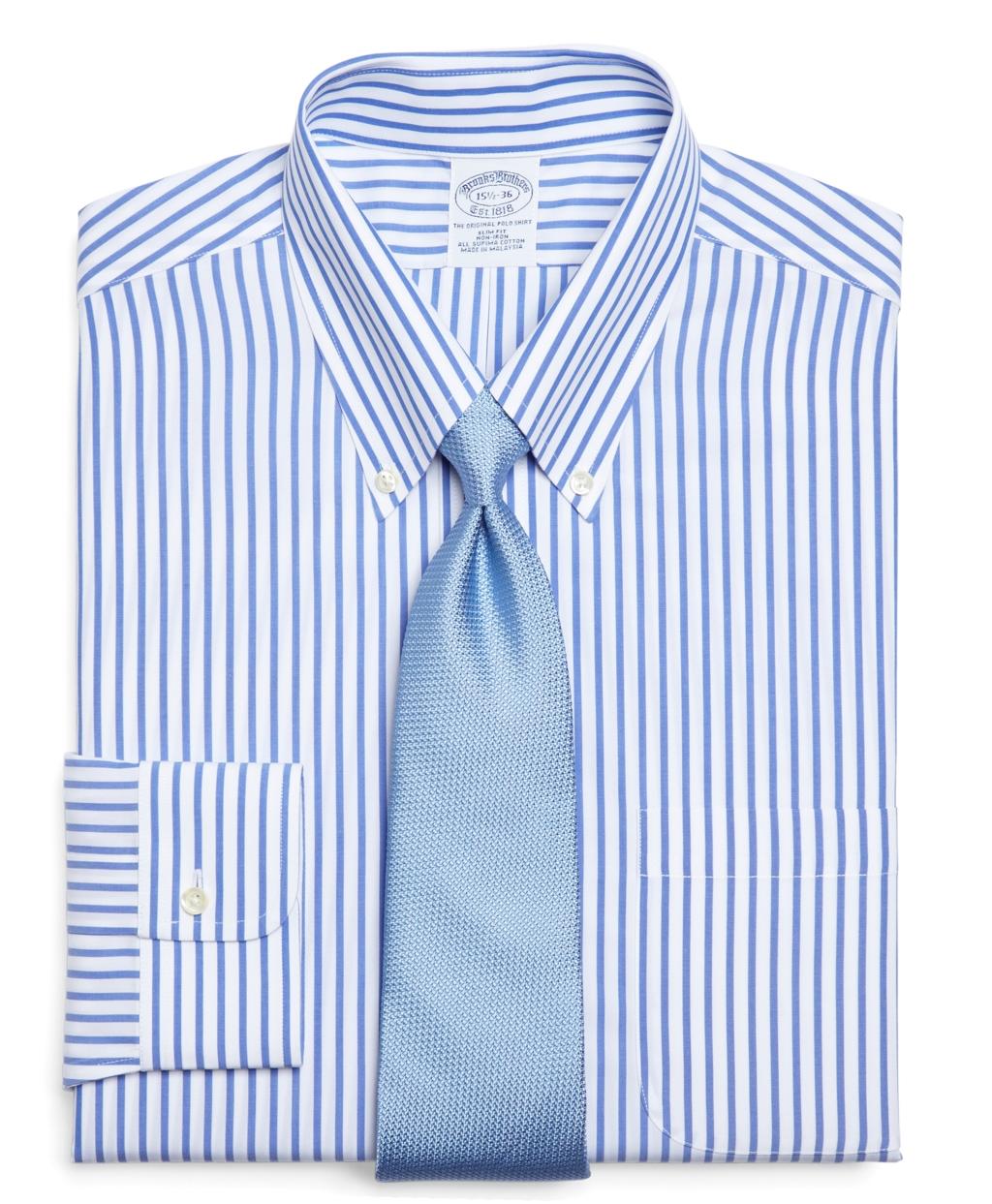 Brooks brothers supima cotton non iron regular fit bold for Supima cotton dress shirts