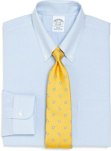 Brooks Brothers Supima Cotton Noniron Slim Fit Shadow Check Dress Shirt in Blue for Men (light blue)