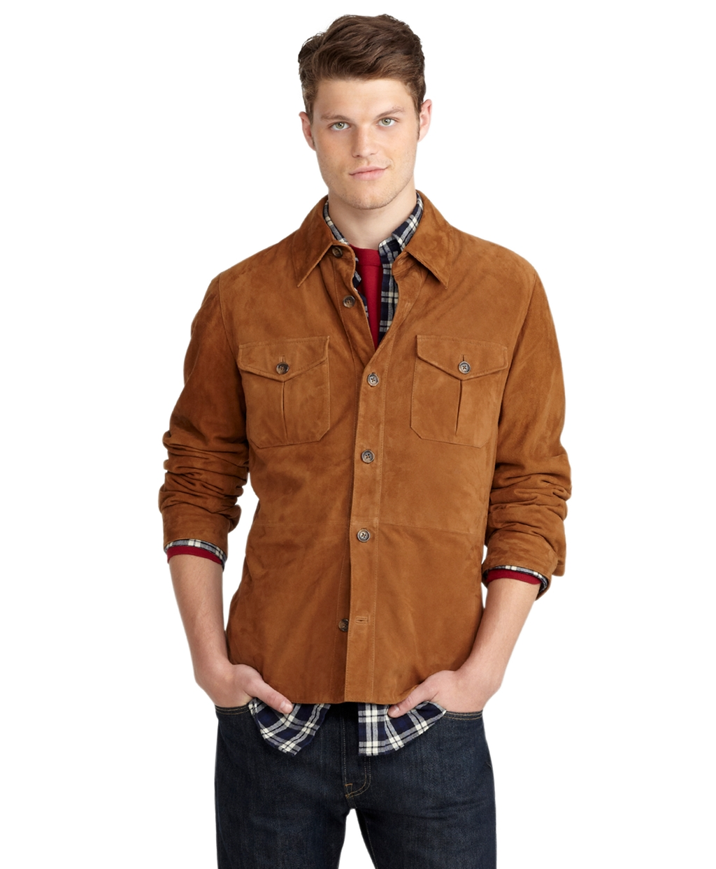 Brooks Brothers Suede Shirt Jacket In Brown For Men Lyst
