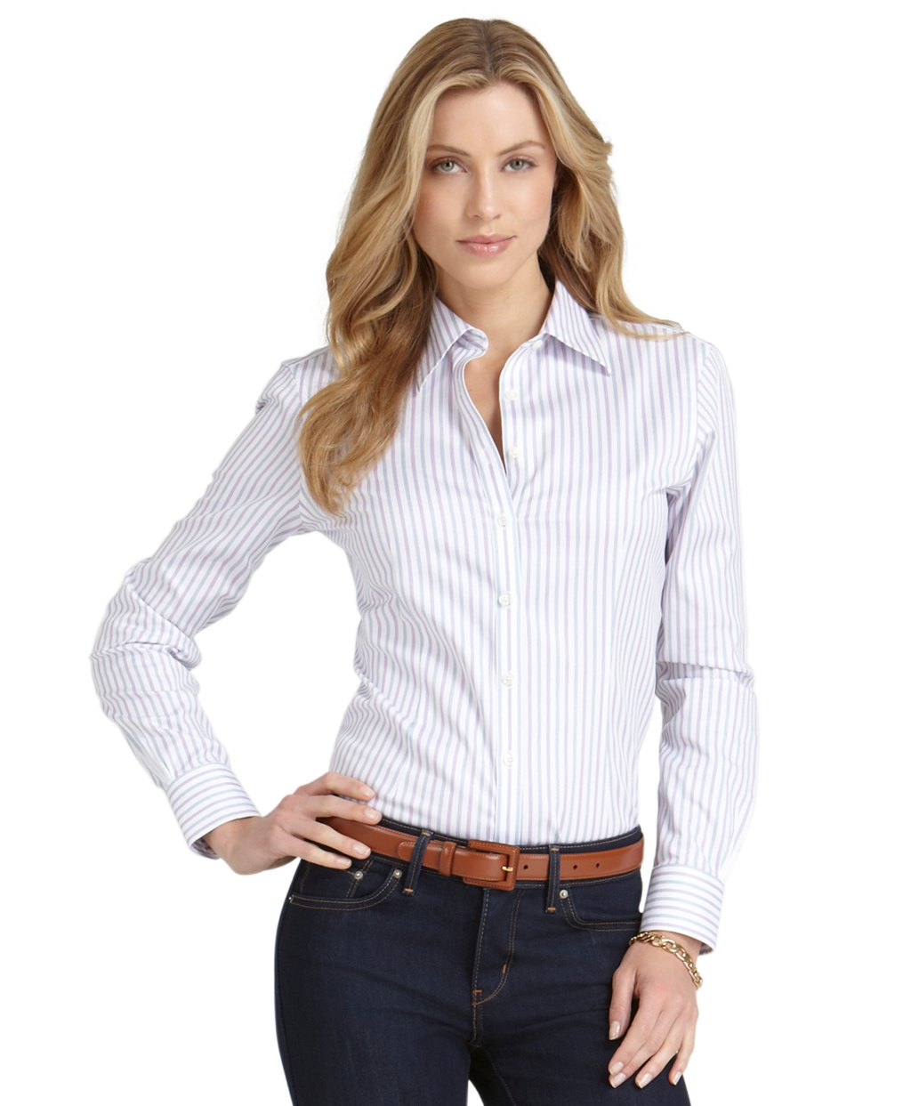 Brooks Brothers Non Iron Fitted Multi Stripe Dress Shirt