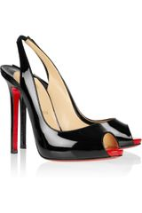 Christian Louboutin Patent Leather Slingbacks - Lyst
