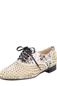 Christian Louboutin Freddy Studded Flat Oxford - Lyst