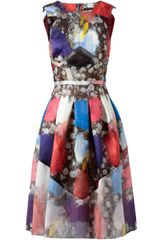 Christopher Kane Abstract Floral Printed Silk Dress - Lyst