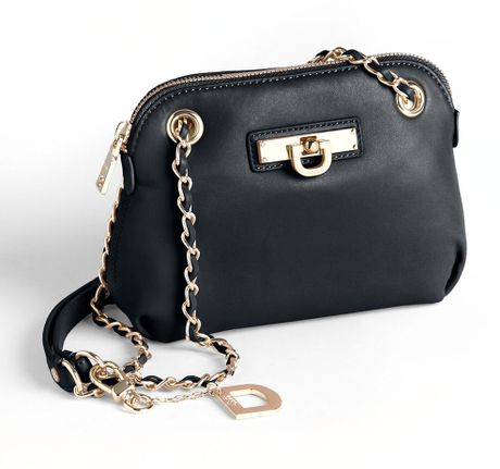 Dkny Small Round Leather Crossbody Bag In Black Lyst