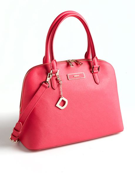 Dkny Saffiano Leather Satchel Bag in Pink (magenta)