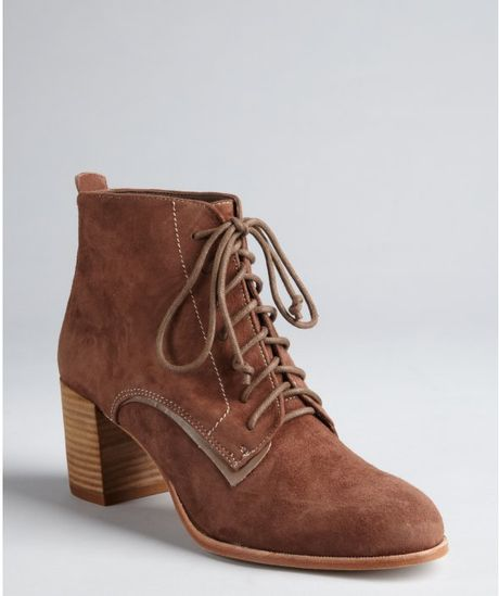 dolce vita light brown suede hal lace up ankle boots in