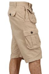 Dsquared2 Dyed Military Cargo Cotton Canvas Shorts in Beige for Men - Lyst