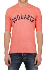 DSquared2 Faded Dyed Cotton Linen Jersey T-shirt - Lyst