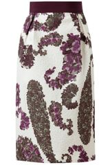 Giambattista Valli Floral Embossed Cottonsilk Skirt - Lyst
