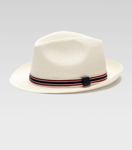 Gucci Hats For Men: Gucci Straw Fedora Hat In White For Men (natural)
