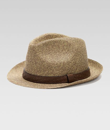 Gucci Hats For Men: Gucci Straw Fedora Hat In Brown For Men (tan)
