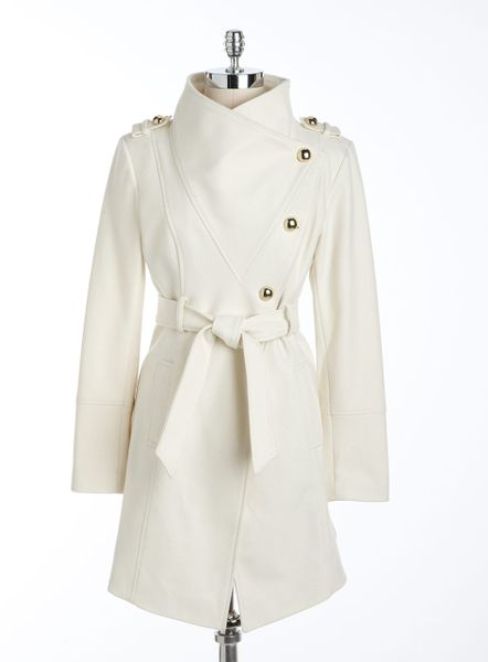 Guess Asymmetric Tie Waist Coat In White Winter Whi Lyst