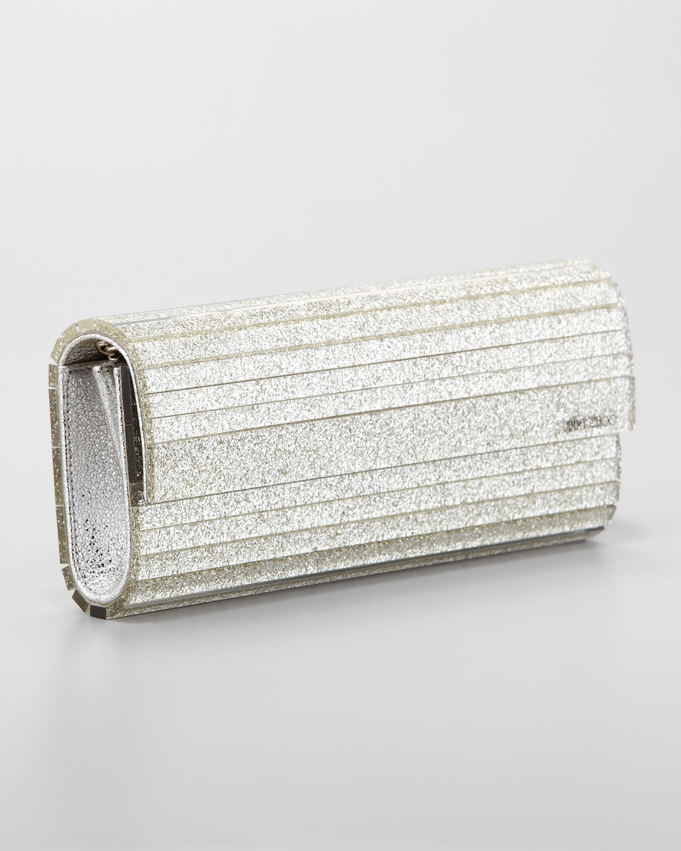 lyst jimmy choo sweetie acrylic glitter clutch bag in metallic. Black Bedroom Furniture Sets. Home Design Ideas