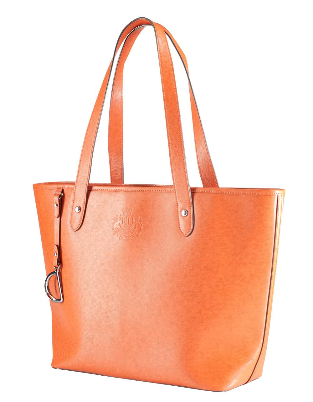 17e54fe9a6d9 ... ricky bag 656ac ebd92 inexpensive lauren by ralph lauren newbury leather  shopper bag in orange lyst ef9d8 01c4b ...