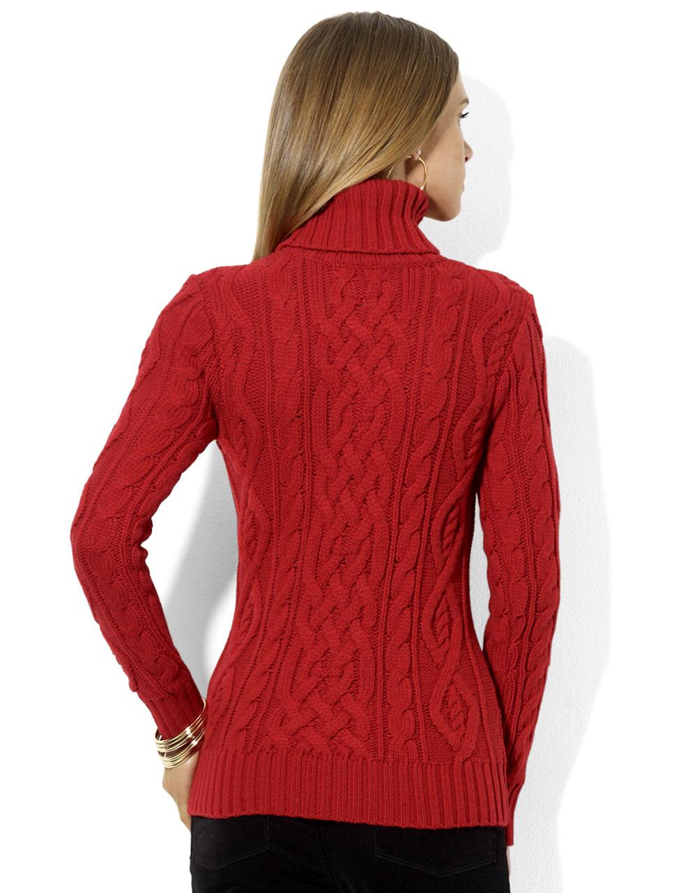 Lauren by ralph lauren Petites Cableknit Turtleneck Sweater in Red ...