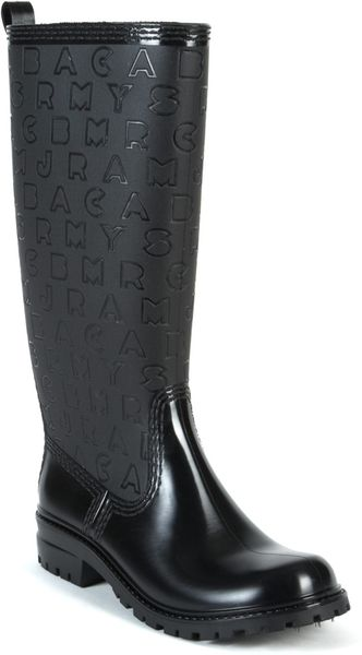 marc by marc jacobs rubber rain boots in black lyst. Black Bedroom Furniture Sets. Home Design Ideas