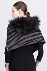 Marc Jacobs Fauxfurcollared Striped Knit Scarf - Lyst