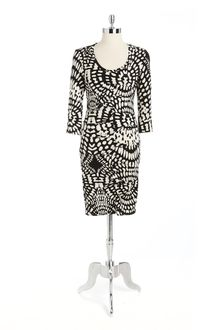 Nicole Miller Mosaic Print Ruched Jersey Sheath Dress - Lyst