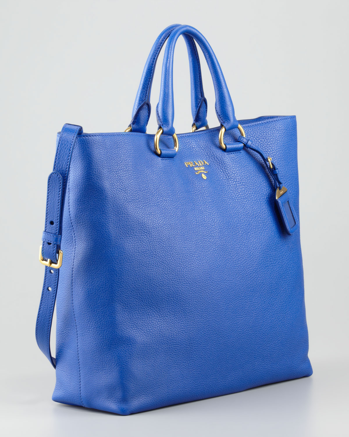 Prada Daino Pebbled Leather Tote Bag in Blue | Lyst