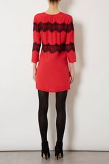 Topshop Lace Panel Shift Dress in Red - Lyst