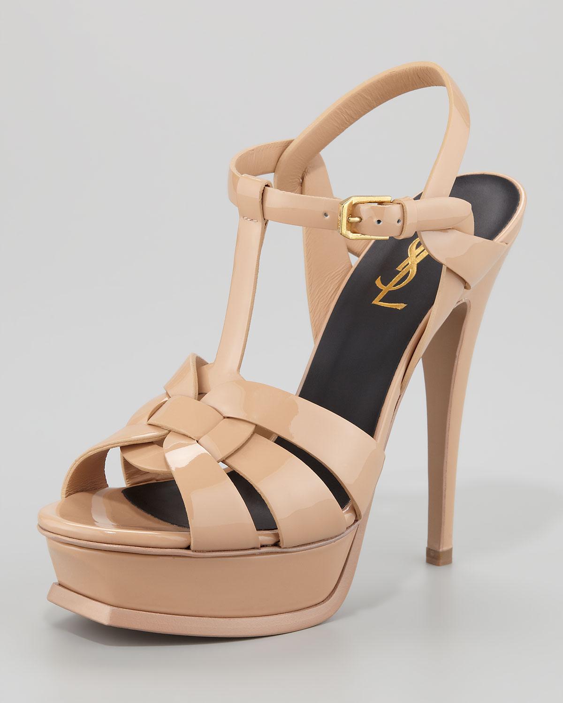 9d74a6913b9f Lyst - Saint Laurent Tribute Patent Leather Platform Sandal in Natural