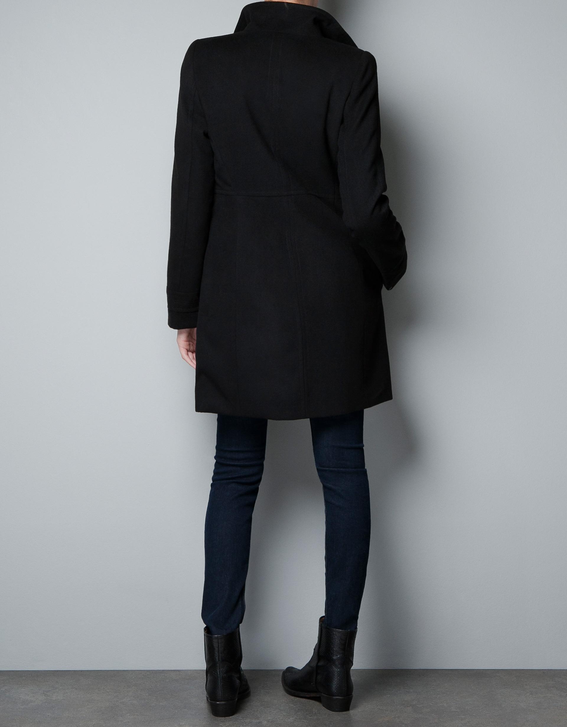 Zara Double Breasted Wool Coat in Black | Lyst