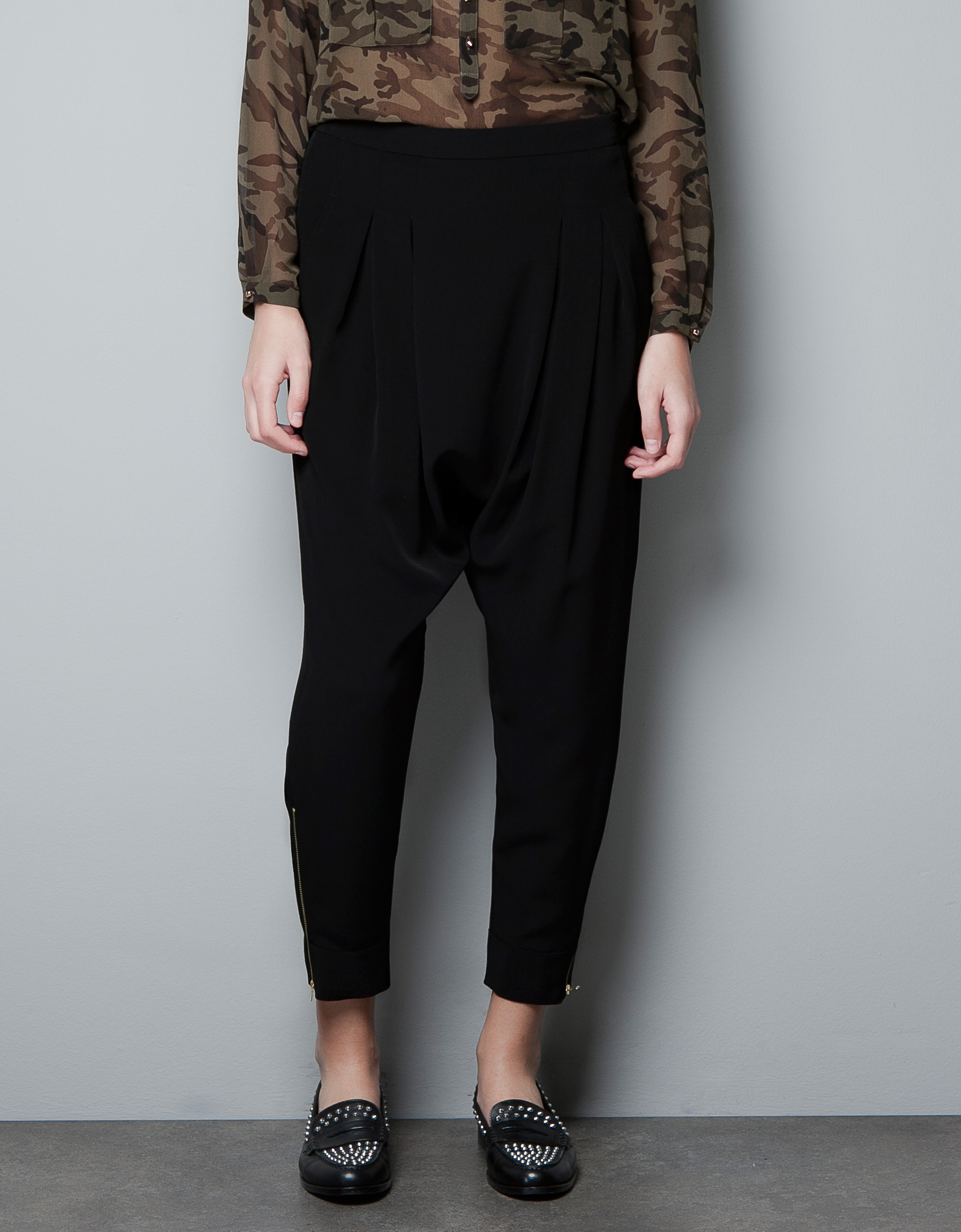 Zara Harem Pants in Black | Lyst
