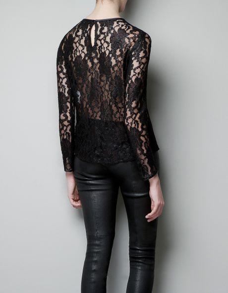 Zara Black Lace Blouse 37