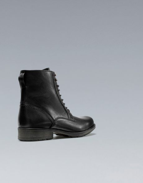 Zara Laceup Boots In Black For Men Lyst