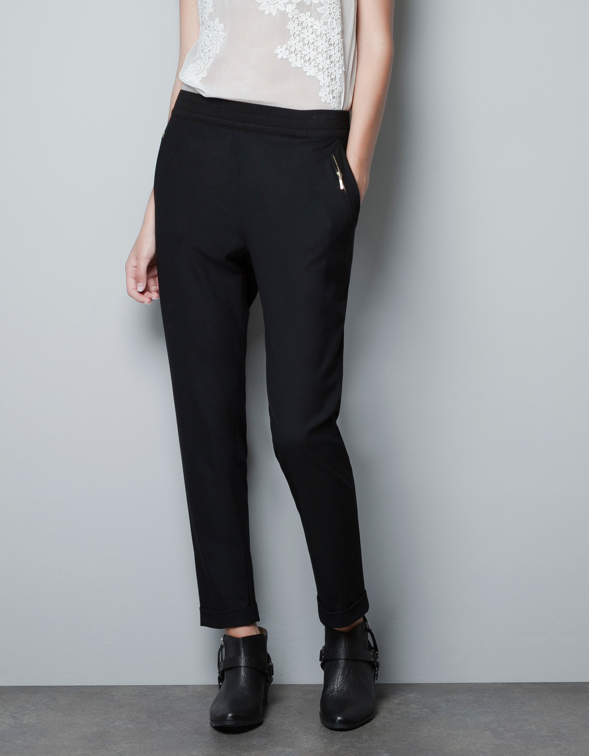 zara trousers with elastic waistband in black lyst