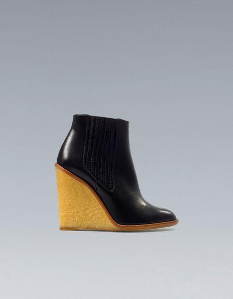 zara wedge ankle boot in black lyst