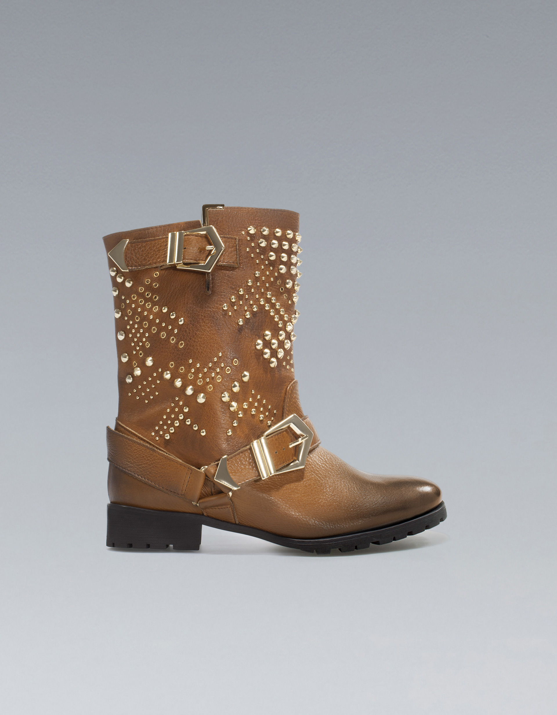 zara studded biker ankle boot in brown lyst