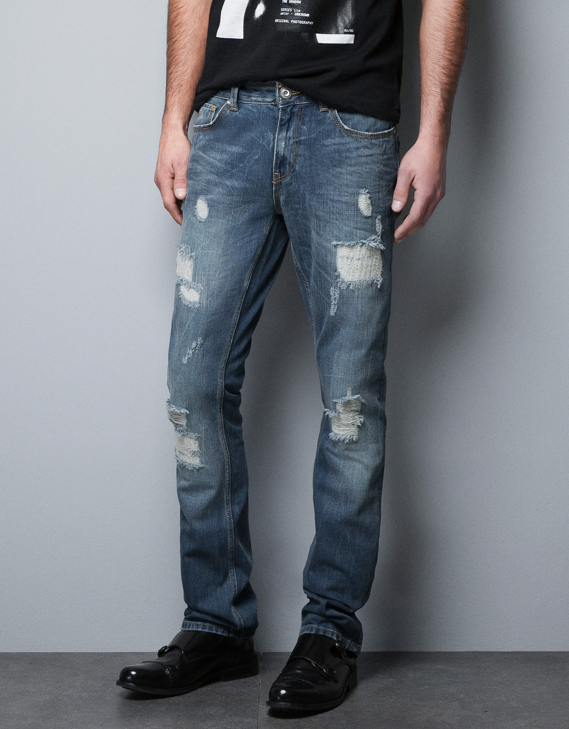 Zara Ripped Jeans in Blue for Men | Lyst