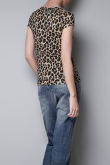Zara Vneck Tshirt in Brown (leopard) - Lyst