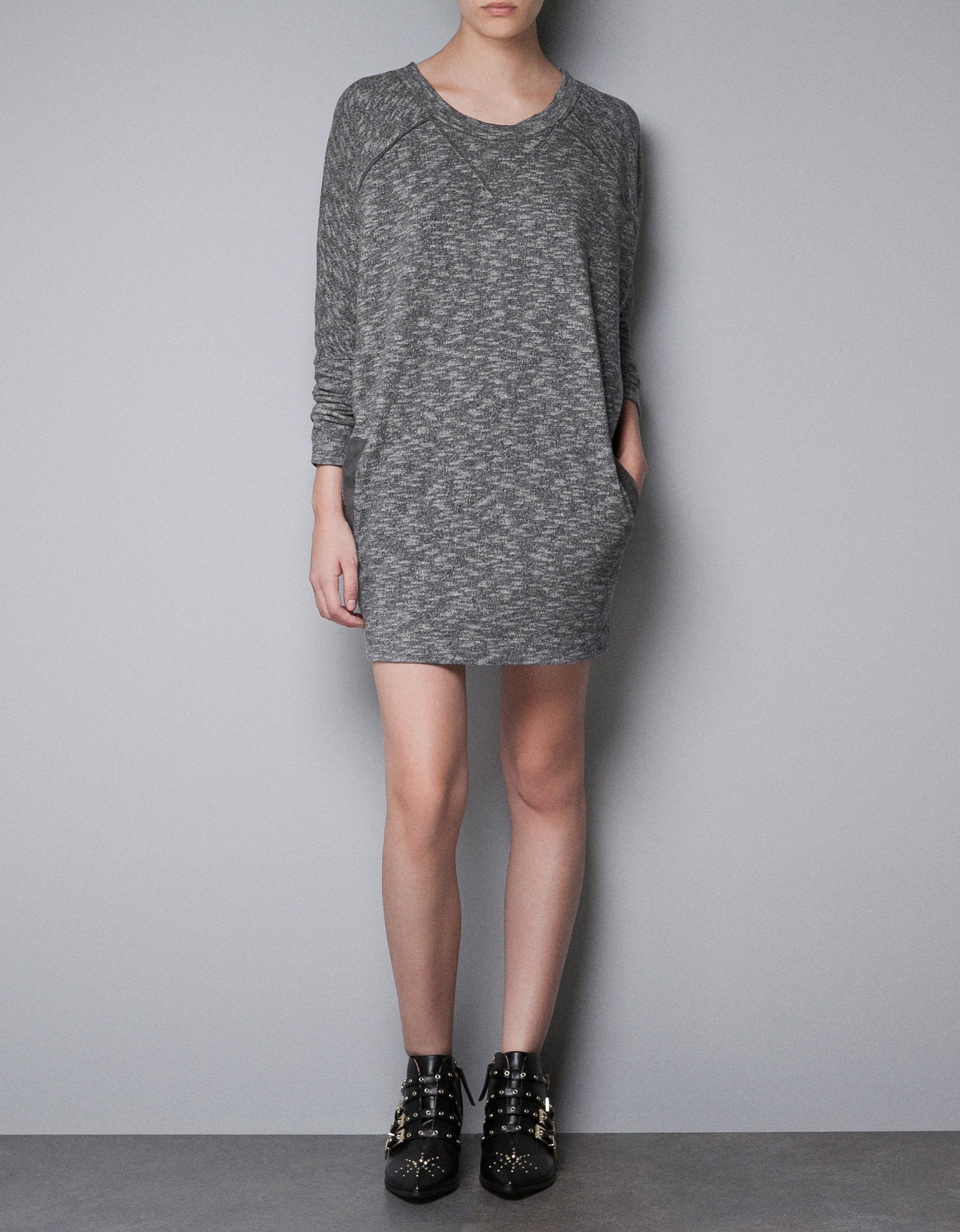 Zara tshirt dress in gray lyst for Zara black t shirt dress