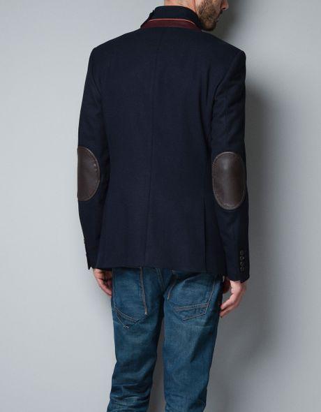 Zara Blazer With Elbow Patches In Blue For Men Navy Lyst