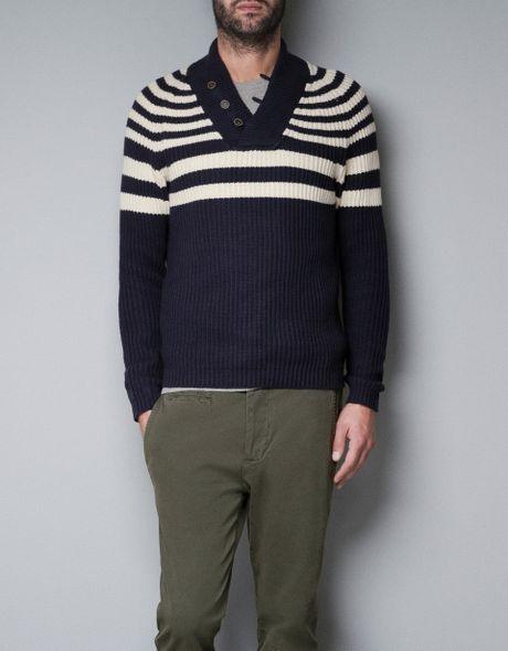 Zara Sweater with Tuxedo Collar in Blue for Men (navy) | Lyst