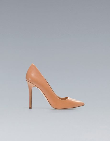 Zara Leather Court Shoe in Brown (nude) - Lyst