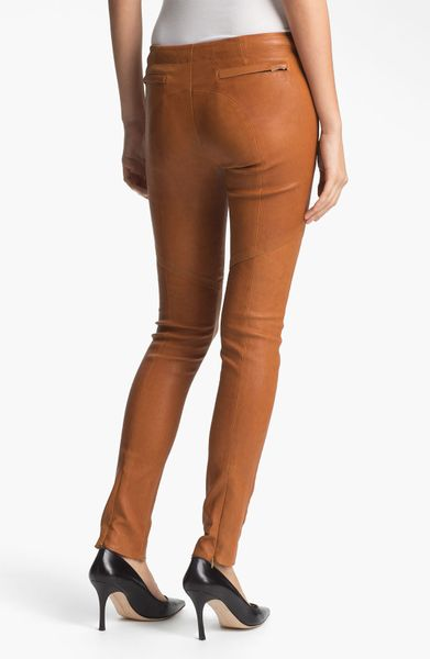 A L C Leather Pants In Brown Caramel Lyst