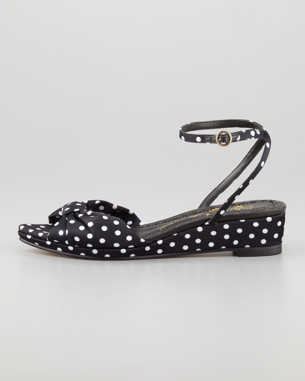 Alice Olivia Alexi Polka Dot Faille Low Wedge Sandal In