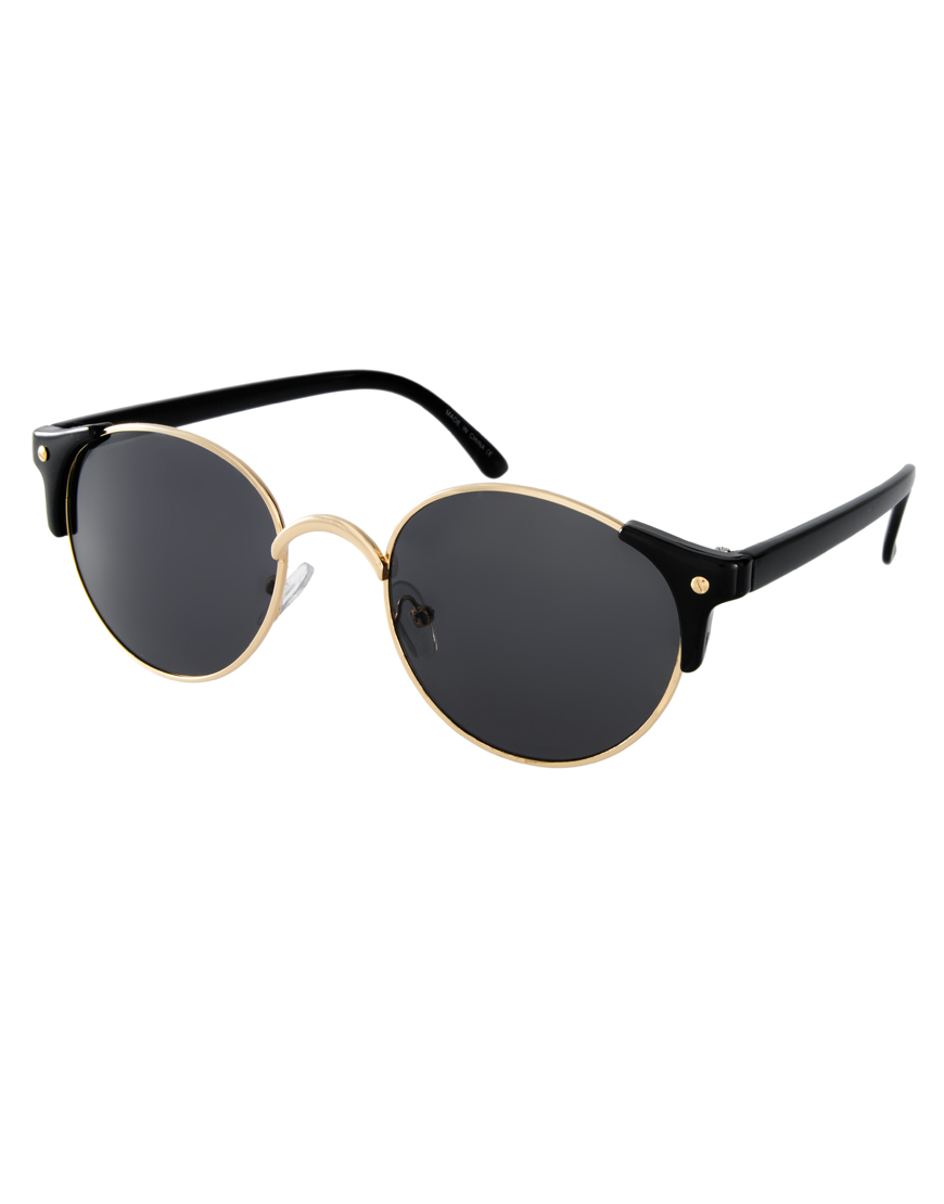 Asos Metal Round Sunglasses With Corner Detail In Black Lyst