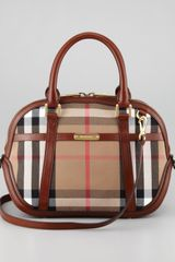 Burberry Check Small Dome Bag - Lyst
