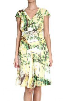 Class Roberto Cavalli Shortsleeve Silk Printed Dress - Lyst