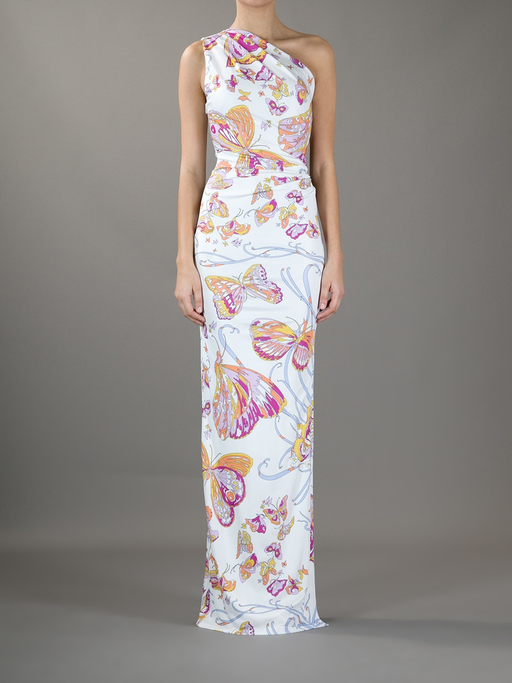 Emilio Pucci One-Shoulder Butterfly Maxi Dress in White - Lyst 066777fb5f