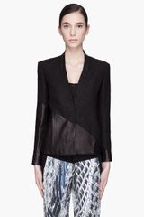 Helmut Lang Black Warped Leather Paneled Blazer - Lyst