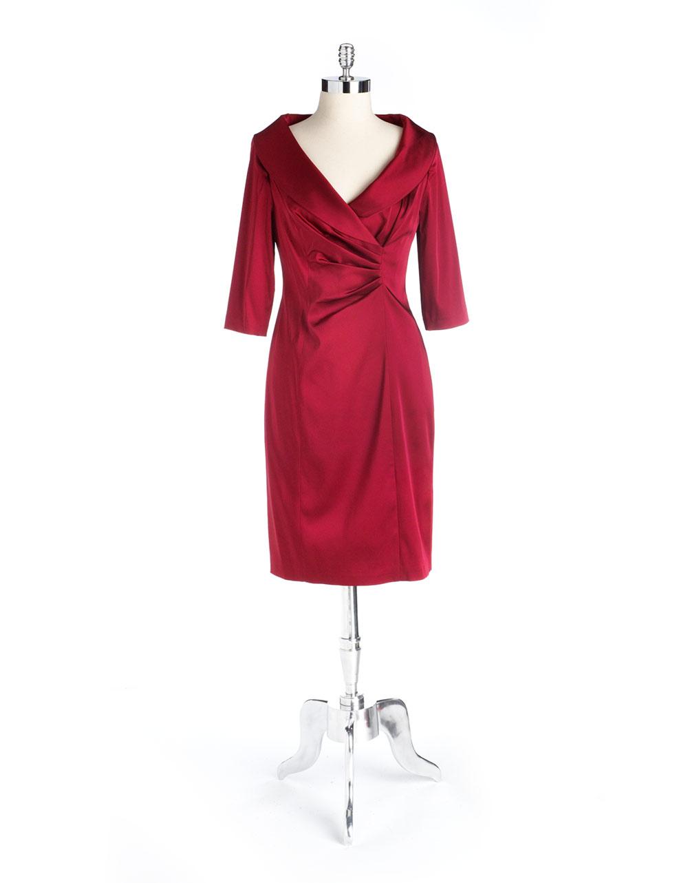 Kay Unger Portrait Collar Dress In Red Garnet Lyst